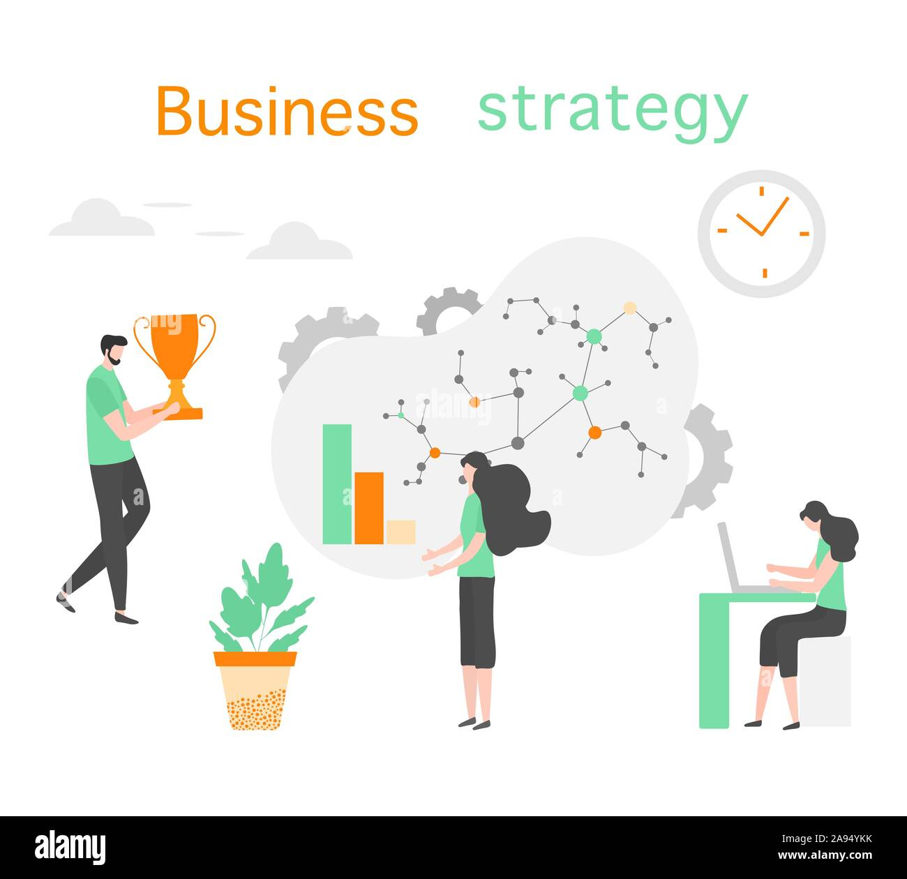 vector illustration people development business strategy, profit growth  planning, financial increase research, statistics, marketing, study  performanc stock vector image & art - alamy  alamy
