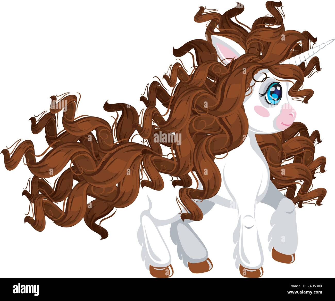 Unicorn Pony Cute Cartoon Style Curly Brunet Mane And Tail Character For Side Scrolling Action Adventure And Endless Runner Game Isolated On Wh Stock Vector Image Art Alamy