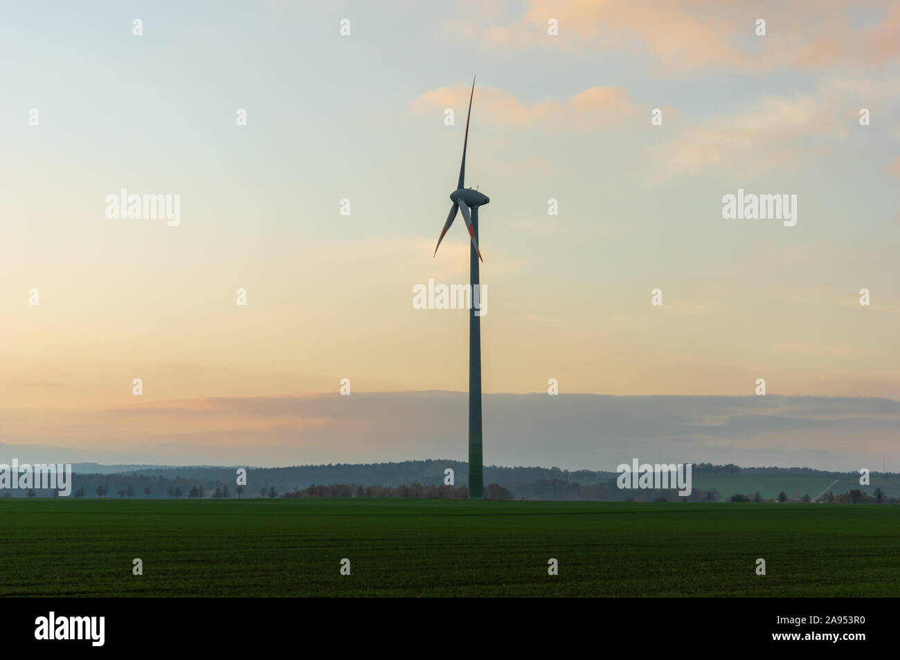 Windturbine made by Enercon GmbH the fourth-largest wind turbine manufacturer in the world and  market leader in Germany Stock Photo
