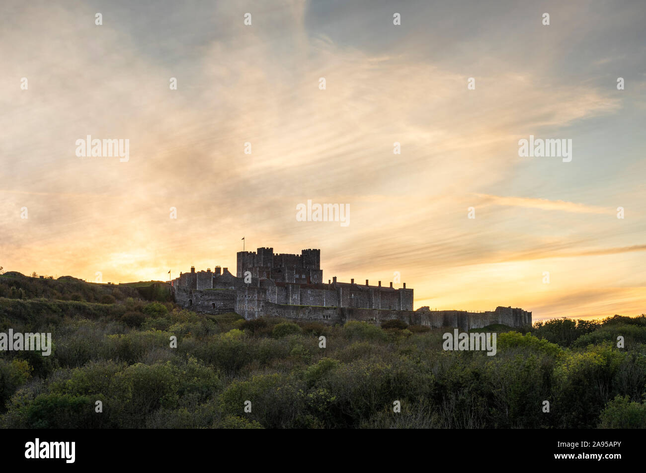 Dover Castle, Dover, Kent. The imposing medieval castle shot at sunset. Stock Photo