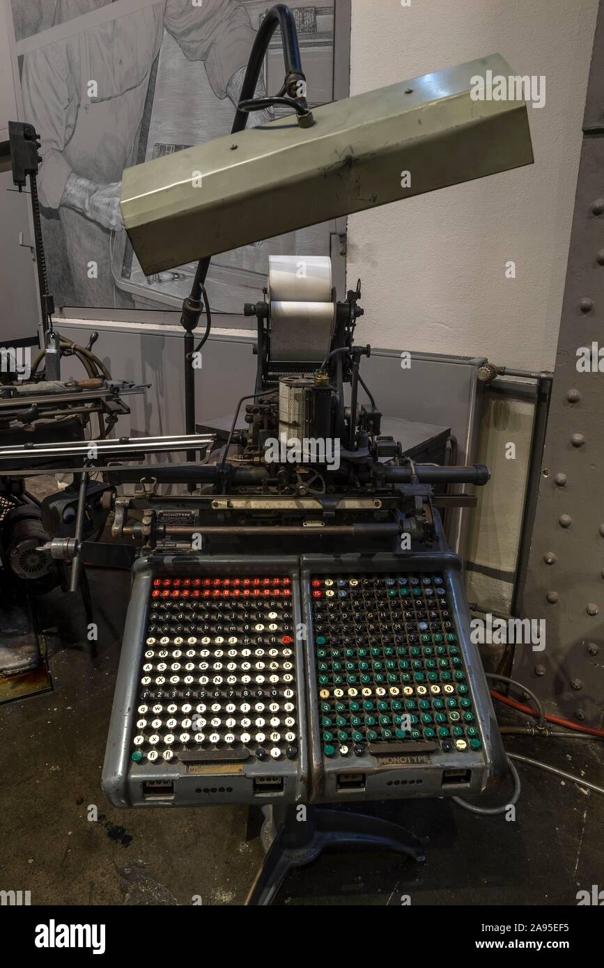 Historical Monotype typesetting machine, Museum Industrial Culture, Nuremberg, Middle Franconia, Bavaria, Germany Stock Photo