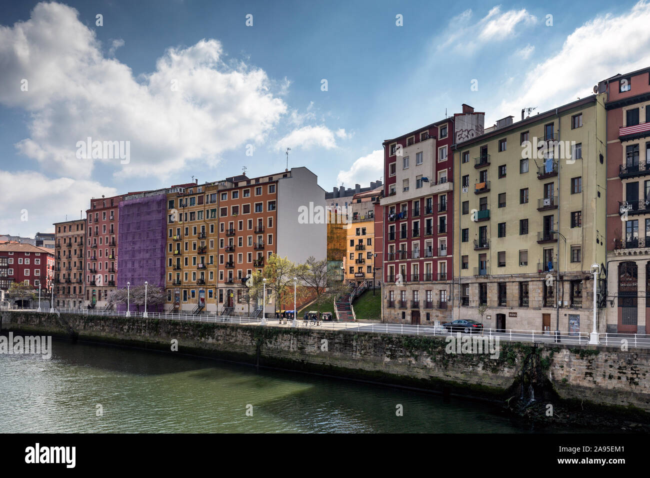 Colourful houses and apartments on the banks of the Nervion River. Old Town (Casco Viejo),  Bilbao, Spain. Stock Photo