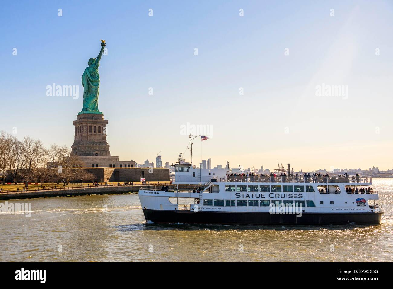 Statue Of Liberty With Passenger Boat Statue Of Liberty