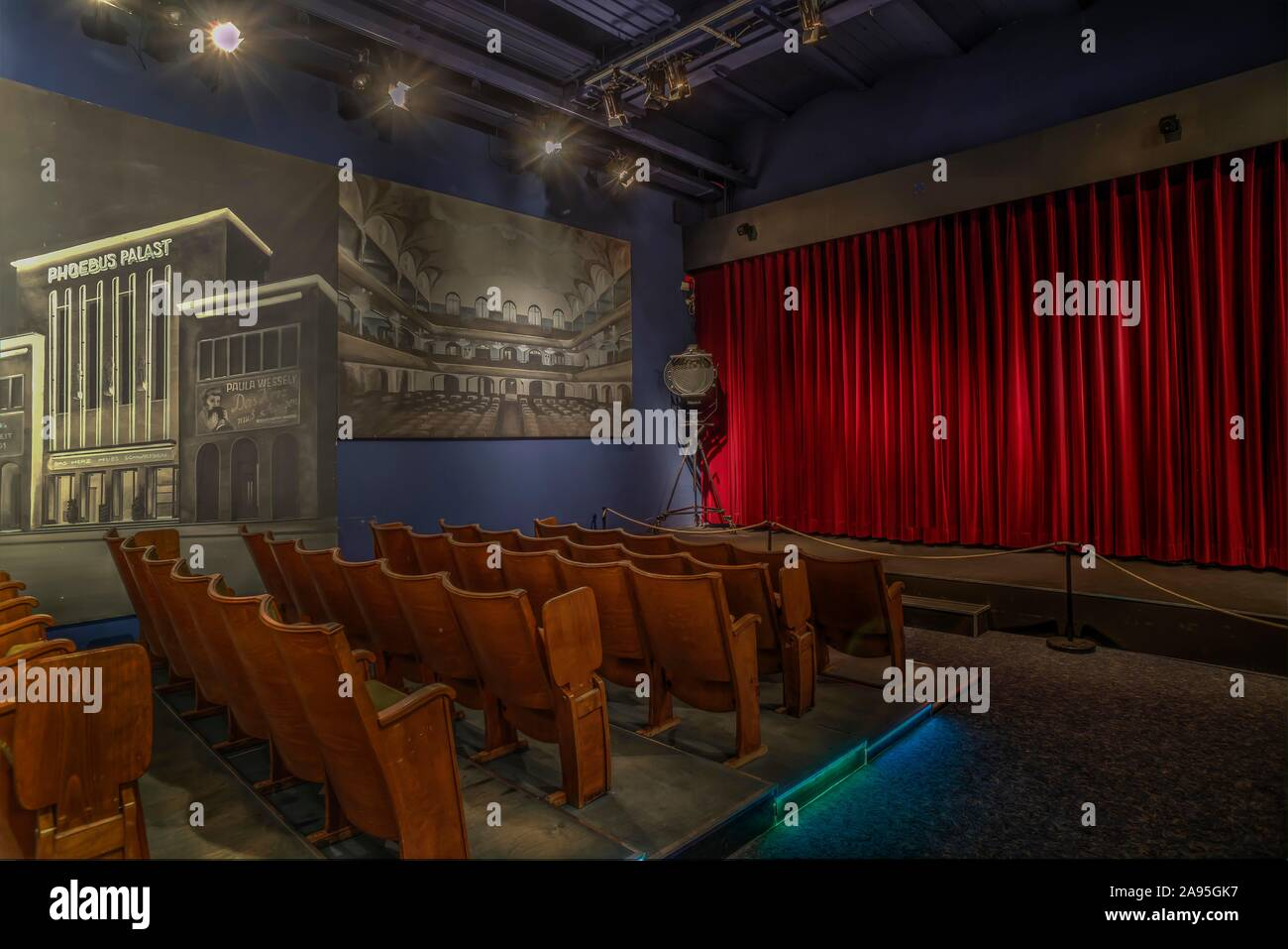 Historical cinema, Noris Theatre of the 1920s, Museum Industrial Culture, Nuremberg, Middle Franconia, Bavaria, Germany Stock Photo