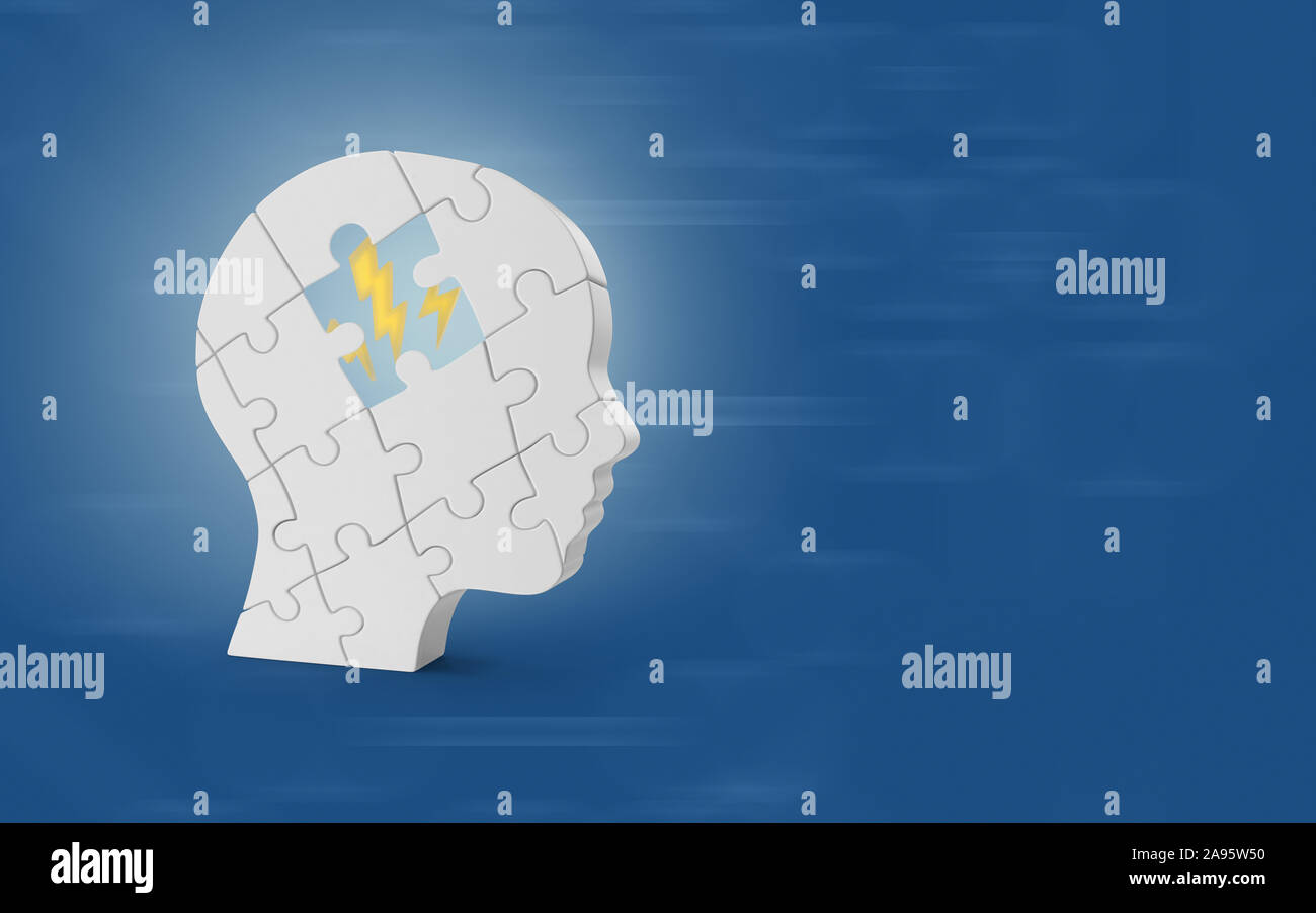 Human head shaped jigsaw puzzle while a piece is missing and we see symbols inside representing ideas against blue background. 3D high quality image r Stock Photo