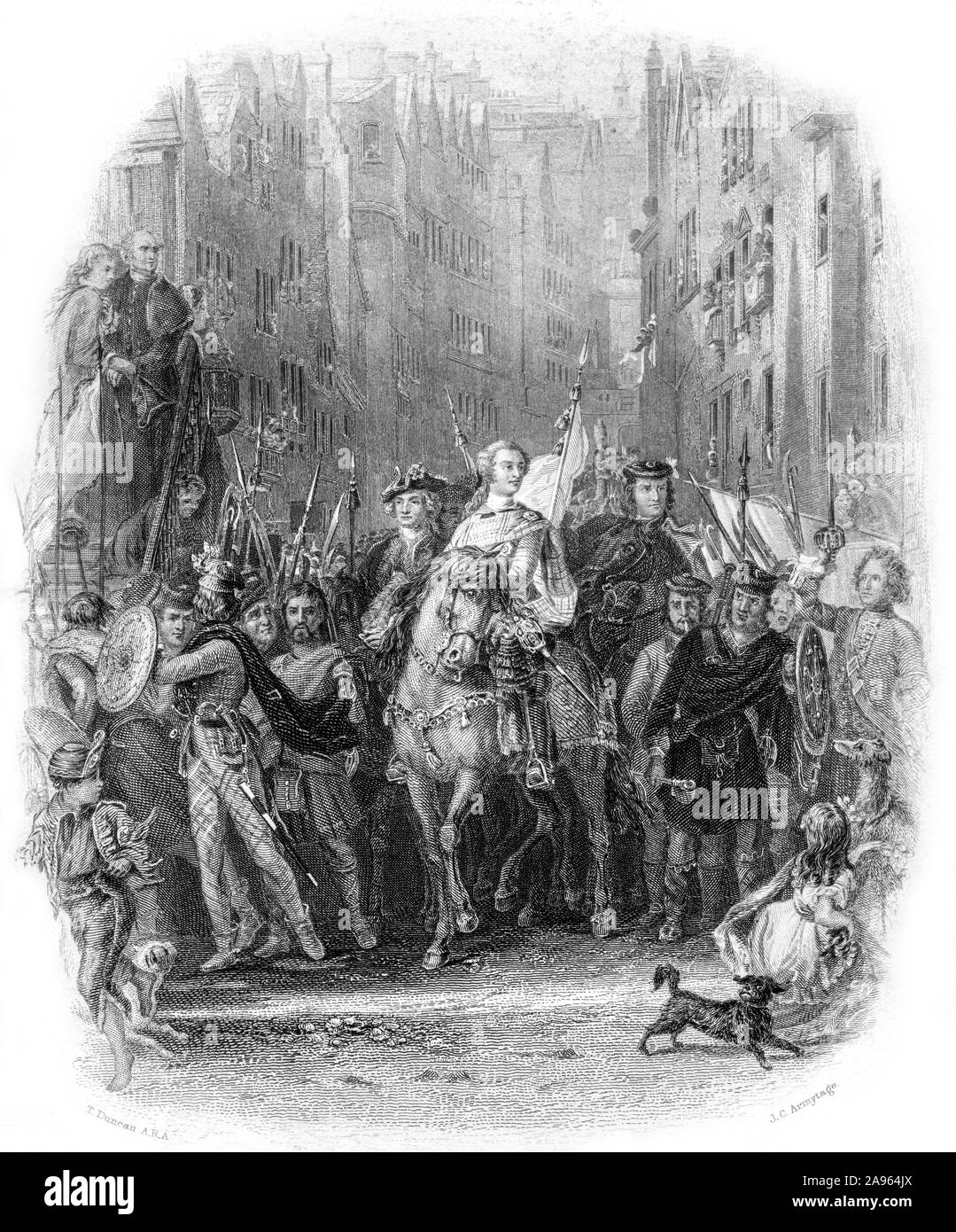 An engraving of Prince Charles Edward Stuart (Bonnie Prince Charlie) and the Highlanders Entering Edinburgh after the Battle of Preston Pans (1745) . Stock Photo