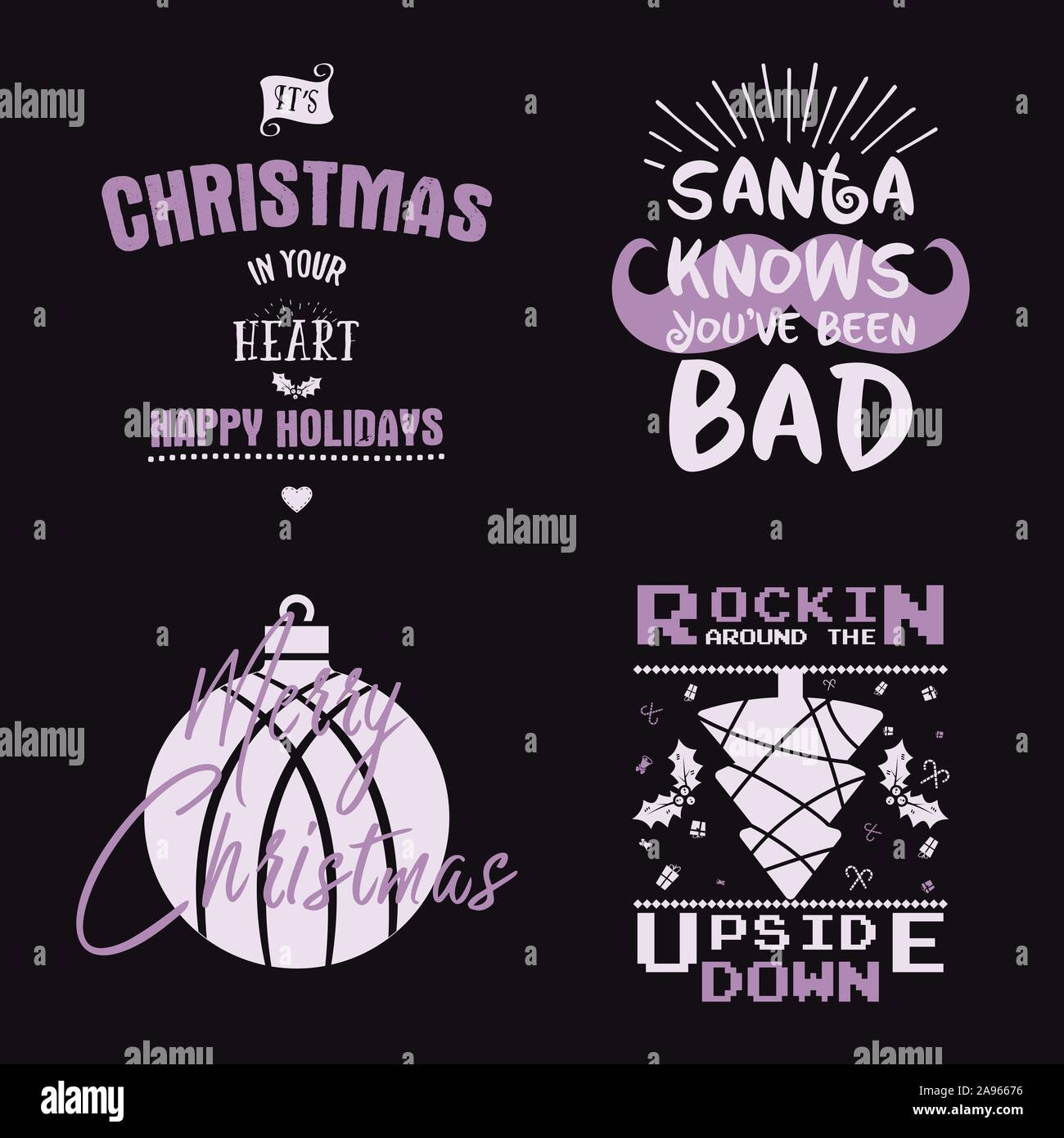 Funny Merry Christmas Happy New Year Season Graphic Prints Set T Shirt Designs For Xmas Party Decor Holiday Decor With Xmas Tree Santa Mug Texts Stock Vector Image Art Alamy