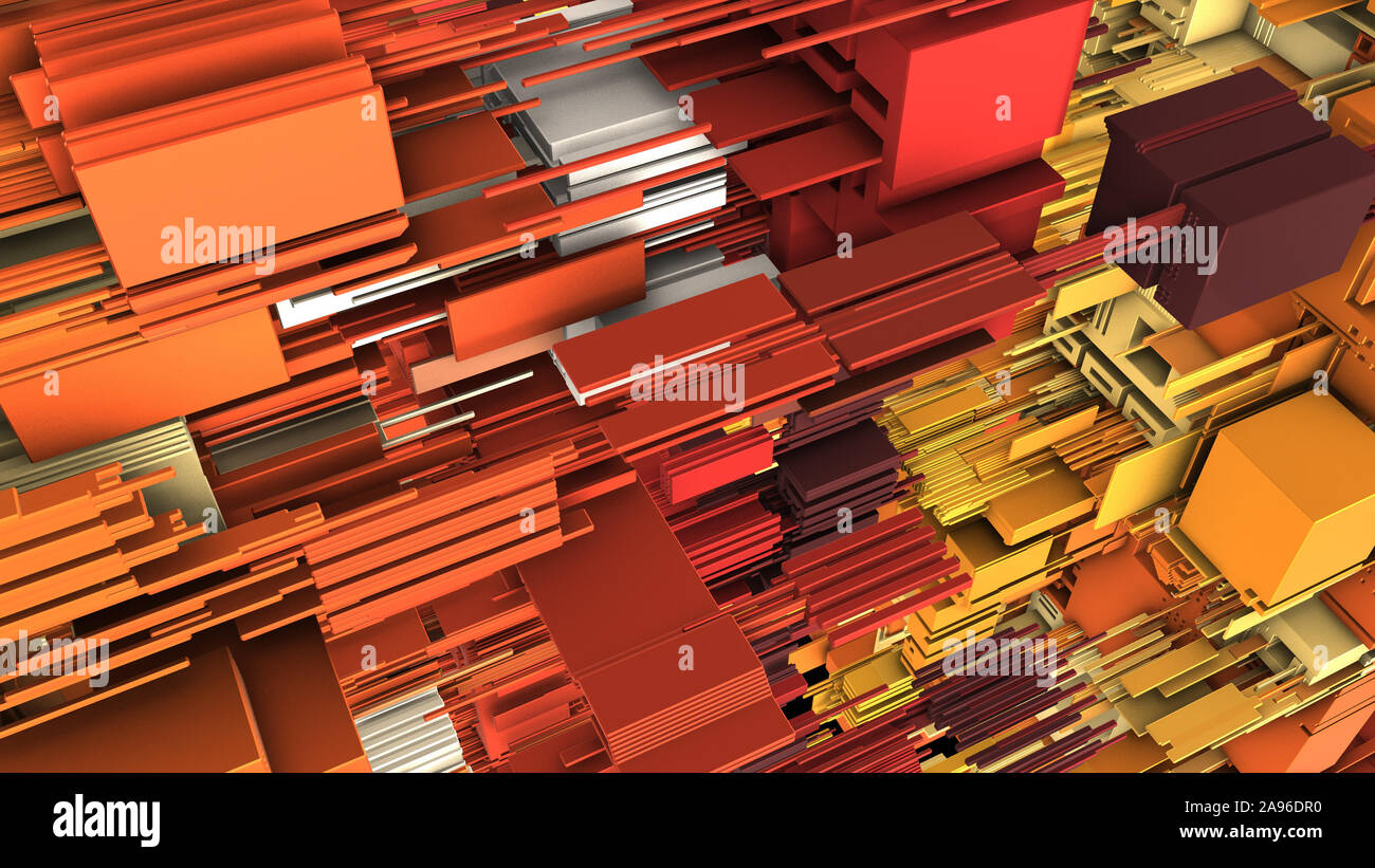 Abstract 3D rendering of surface with random cubes and electronic shapes. futuristic science fiction city with lines and low poly shape. Stock Photo