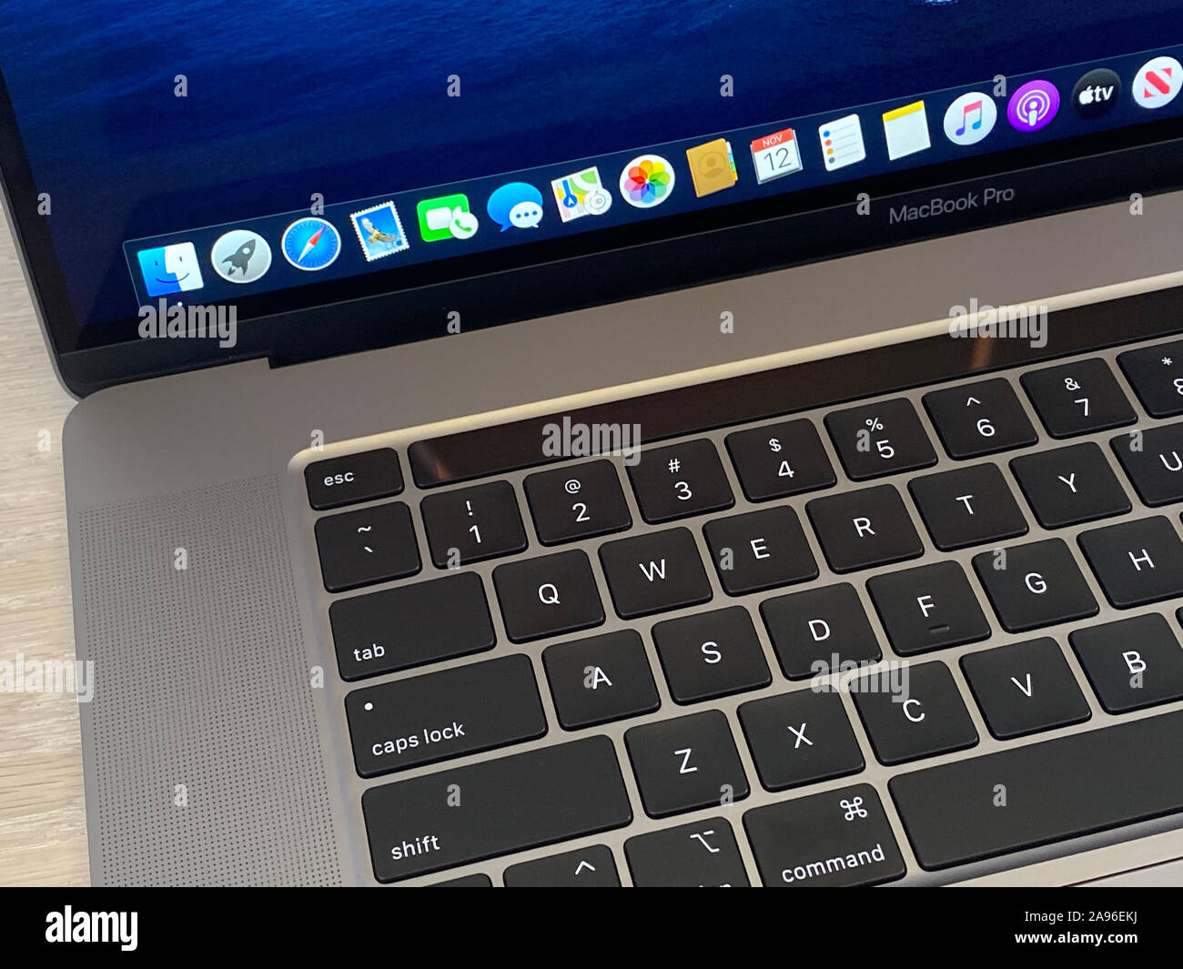 New York, USA. 12th Nov, 2019. The new MacBook Pro, recorded at an Apple presentation in New York, features a redesigned keyboard, a sophisticated sound system, and a 16-inch display. Credit: Christoph Dernbach/dpa/Alamy Live News Stock Photo