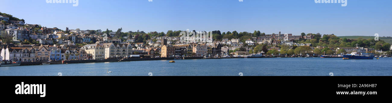 Panorama of the Devonshire harbour of Dartmouth including the waterfront, and the Naval College. Stock Photo