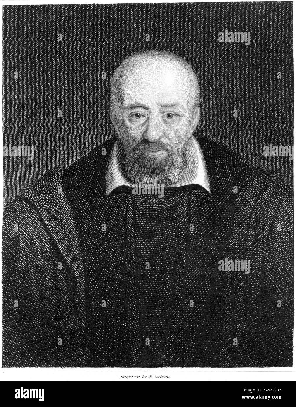 An engraving of George Buchanan scanned at high resolution from a book printed in 1859. . Stock Photo