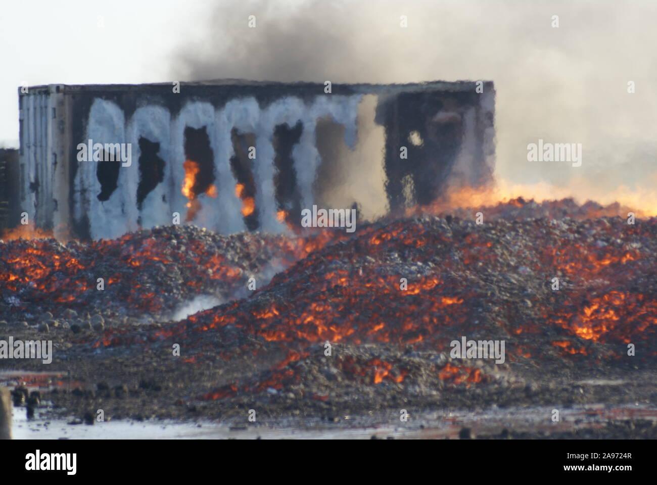 property fire, danger zone, Australian bushfire Stock Photo