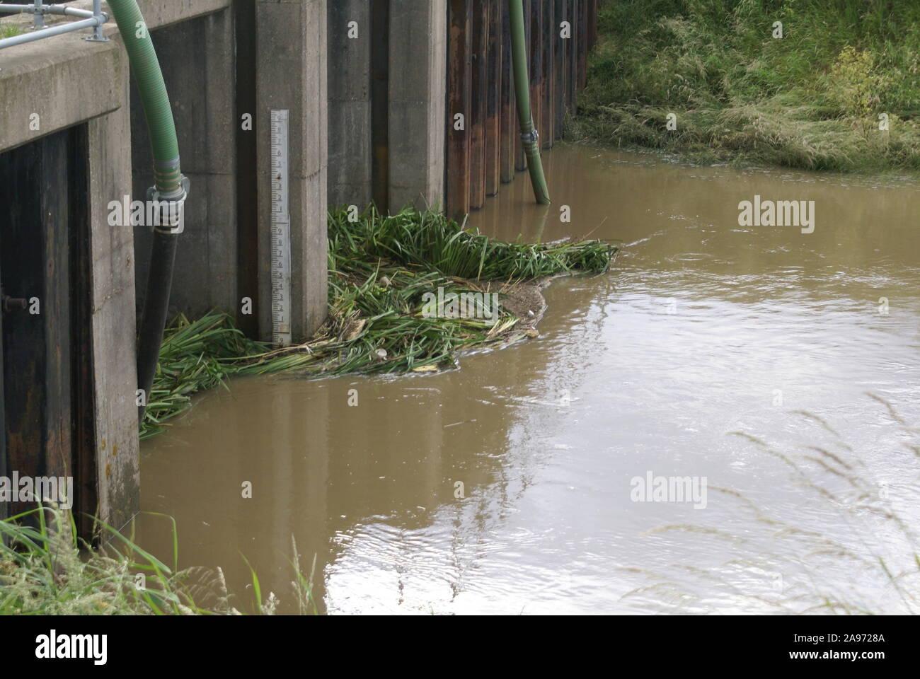 Flooding, sluice gates, South yorkshire Stock Photo