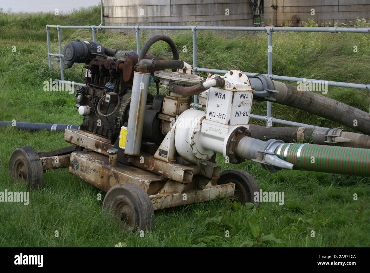 flood disaster zone, water pumping equipment Stock Photo