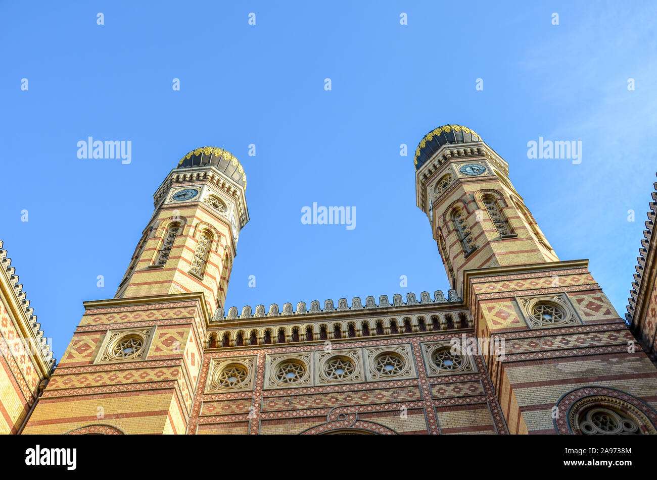 Front side facade of the Great Synagogue in Hungarian Budapest. Dohany Street Synagogue, the largest synagogue in Europe. Centre of Neolog Judaism. Ornamental facade and two onion domes. Tourist spot. Stock Photo