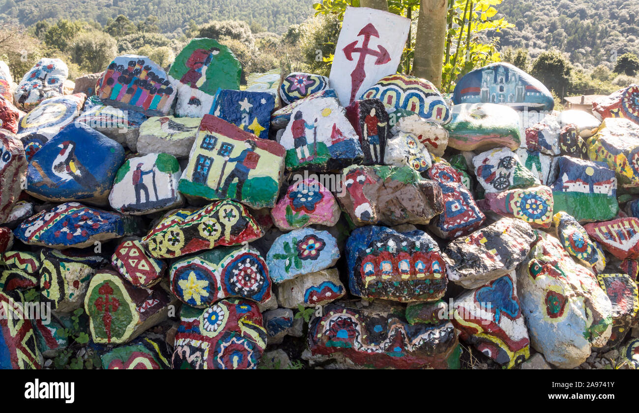 Decorated stones in the camino of Santiago in the north of Spain. Stock Photo