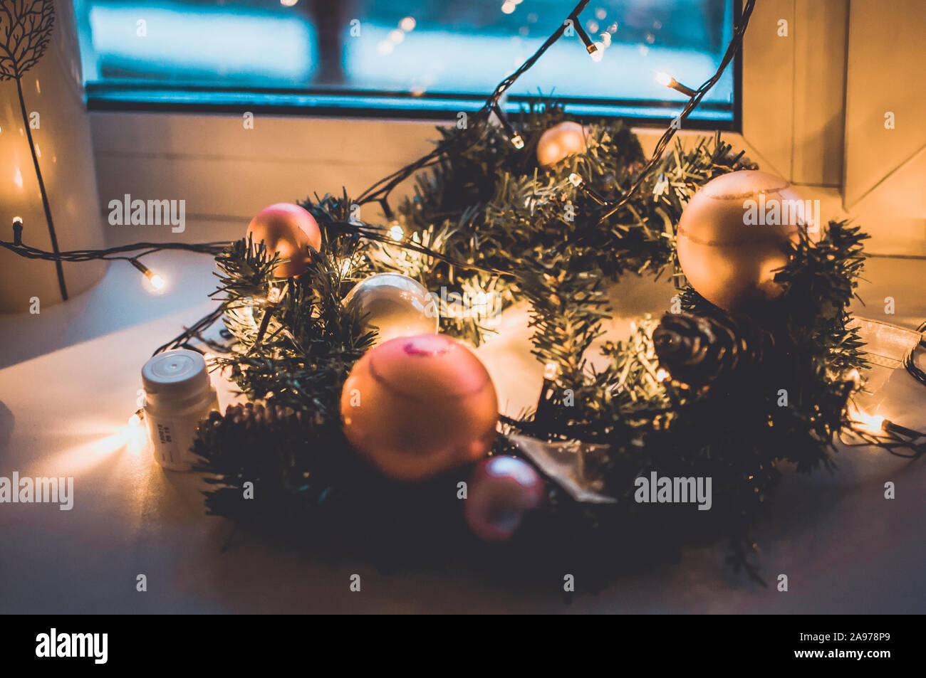 Decorated Wreath Of Christmas Tree Close Up Red Balls And Garland Backlit With Lanterns New Year S Baubles Macro Photo With Bokeh Winter Holiday Stock Photo Alamy