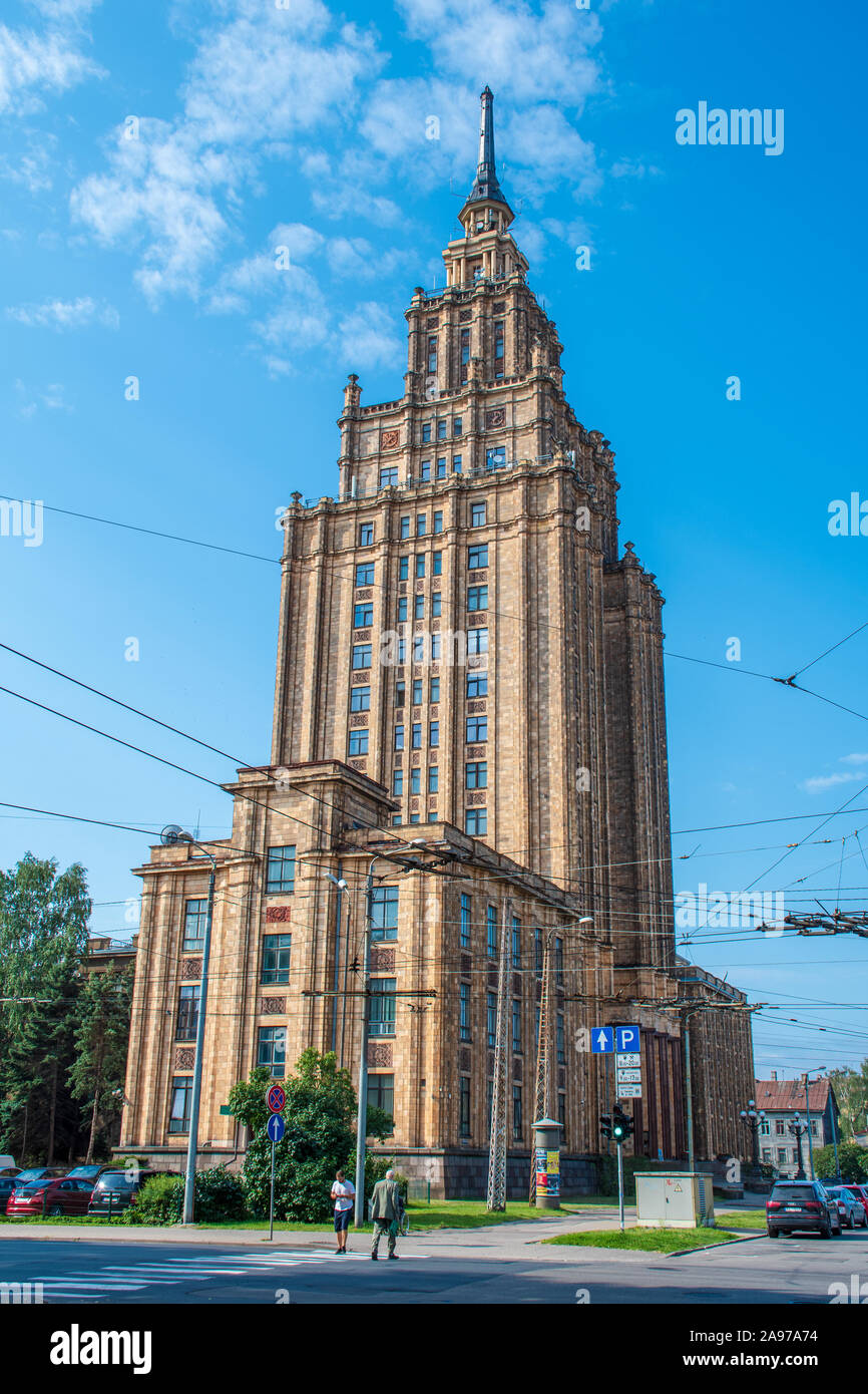 Latvian Academy of Sciences, Riga, Latvia.  Stalin-era skyscraper, Stalinist architecture, Soviet Union Stock Photo