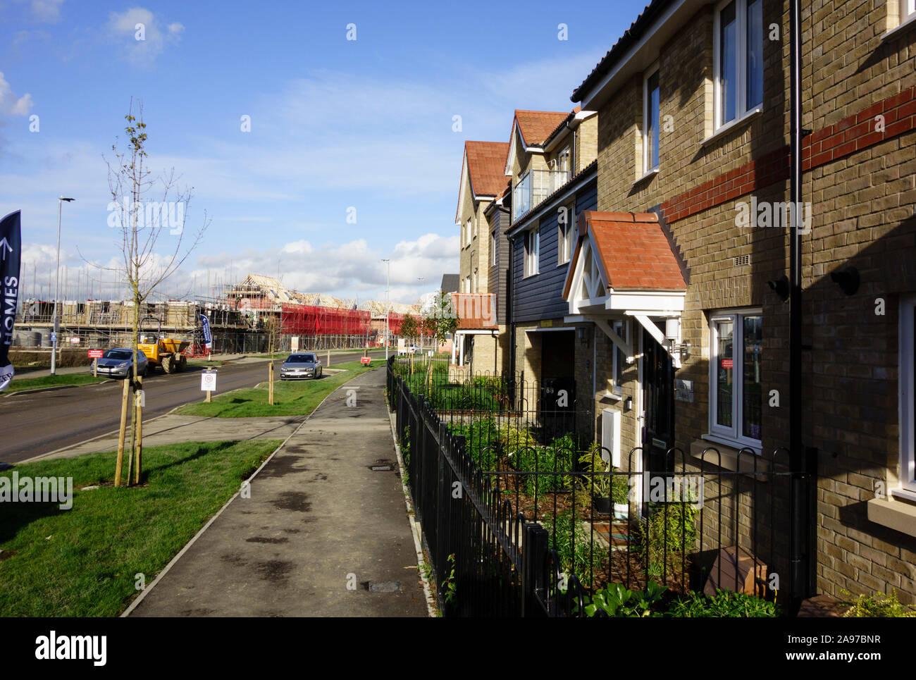 857 homes available at stortfordfields, housing development employment land, shops, community facilities in Bishops Stortford, Hertfordshire, England Stock Photo