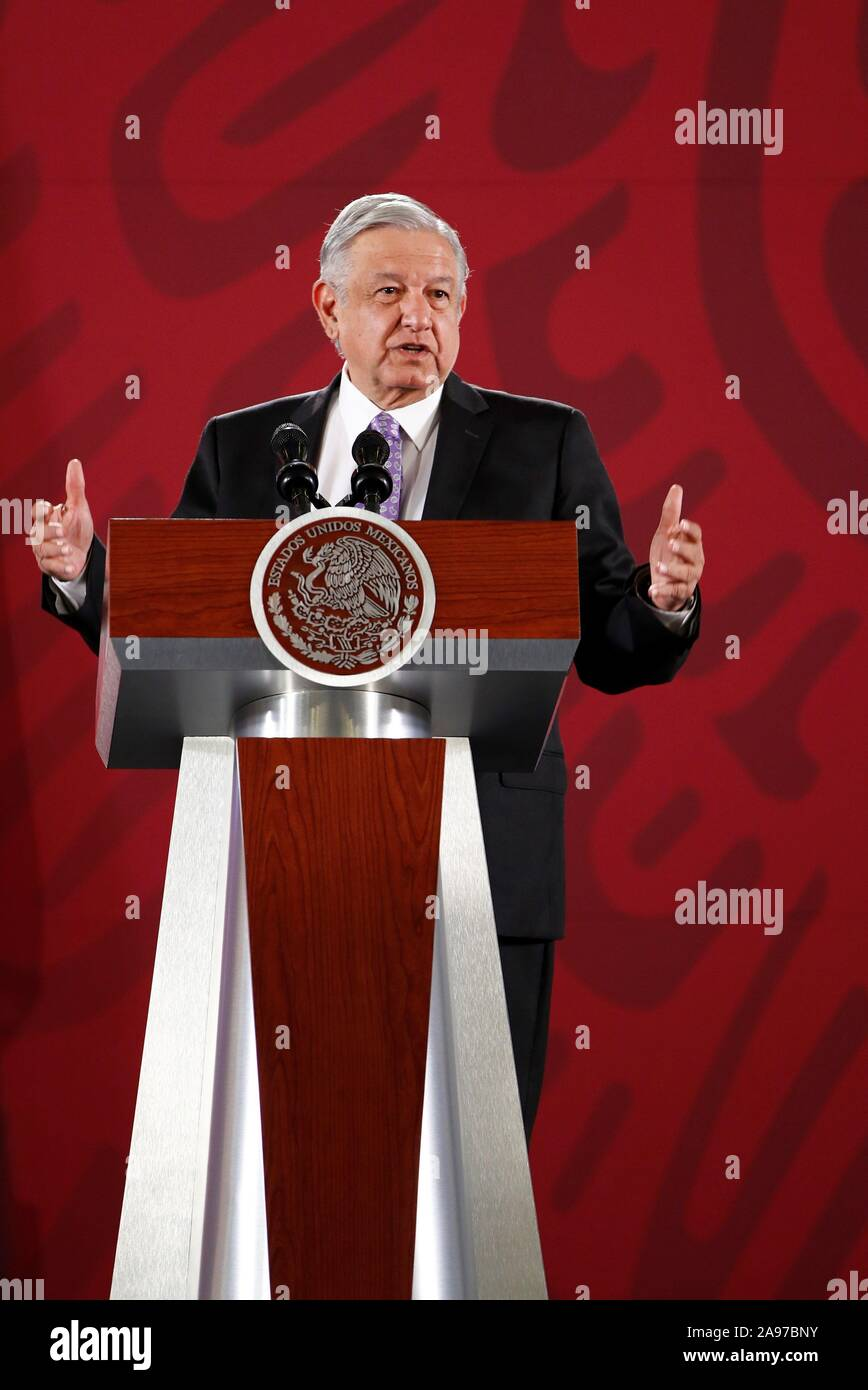 Mexico City, Mexico. 13th Nov, 2019. President of Mexico, Andres Manuel Lopez Obrador, in a press conference at the National Palace in Mexico City, Mexico, 13 November 2019. Lopez Obrador says thats if is necessary can establish contact with Evo Morales. The former President of Bolivia arrived to Mexico as an asylum seeker on 12 November 2019. Credit: José Méndez/EFE/Alamy Live News Stock Photo