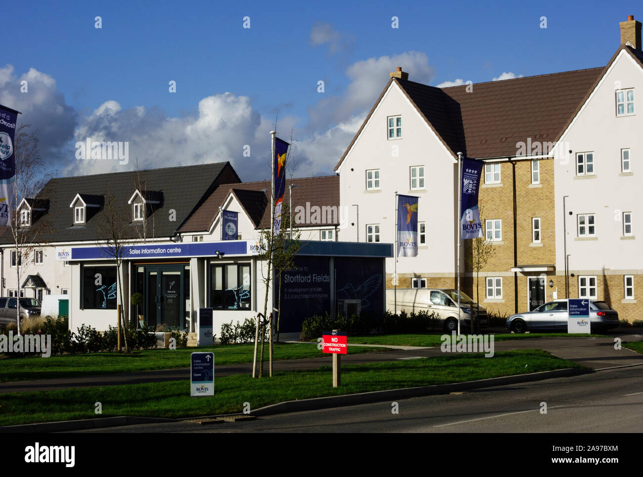 857 homes available at stortfordfields, housing development employment land, shops, community facilities in Bishops Stortford, Hertfordshire, England Stock Photo