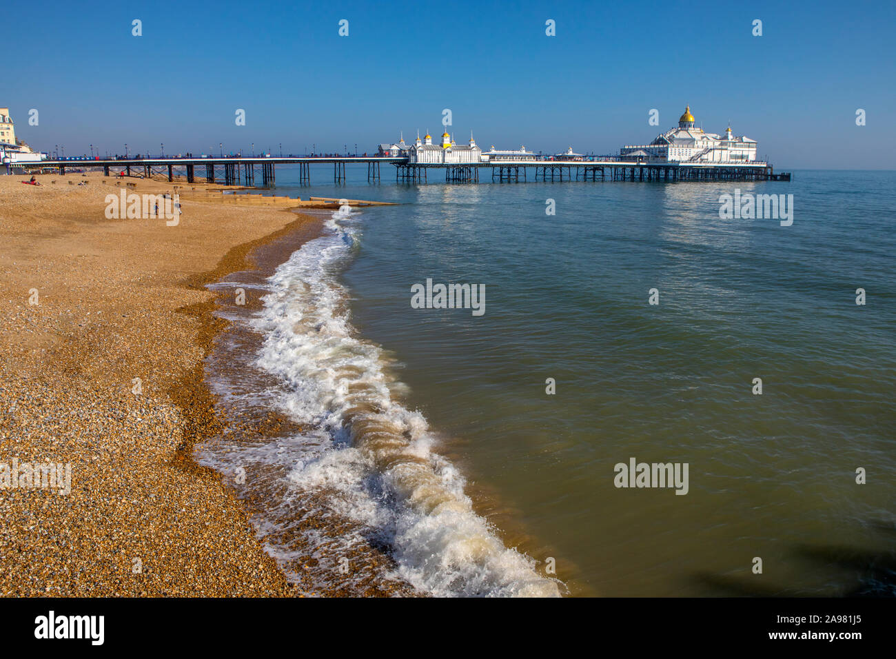 A view of the historic Eastbourne Pier in Eastbourne, East Sussex, UK. Stock Photo