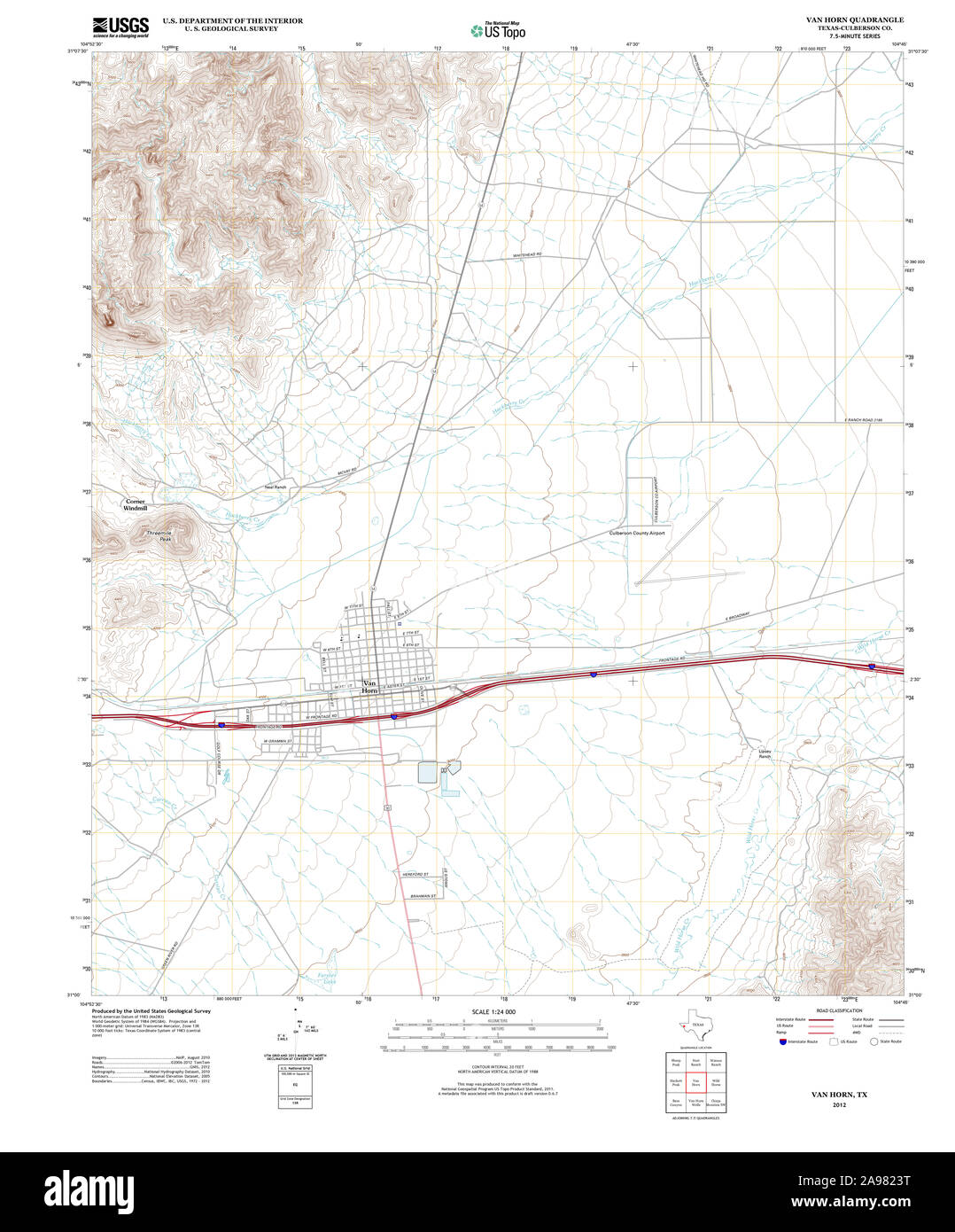 Usgs Topo Map Texas Tx Van Horn 20121218 Tm Stock Photo 332706188