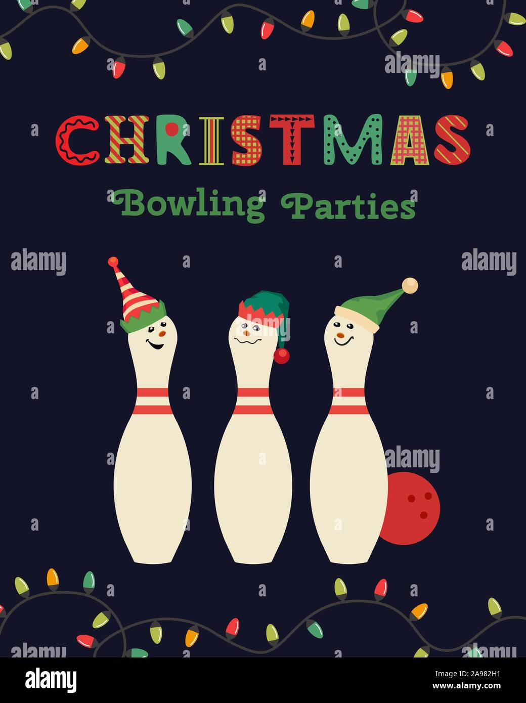 Template Design Poster Christmas Celebration Vector Bowling