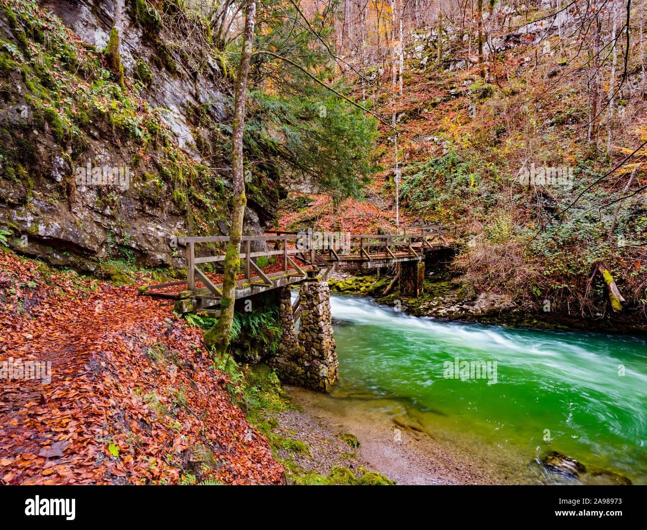 Famous landmark wooden bridge footbridge Kamacnik canyon near Vrbovsko in Croatia Europe Stock Photo