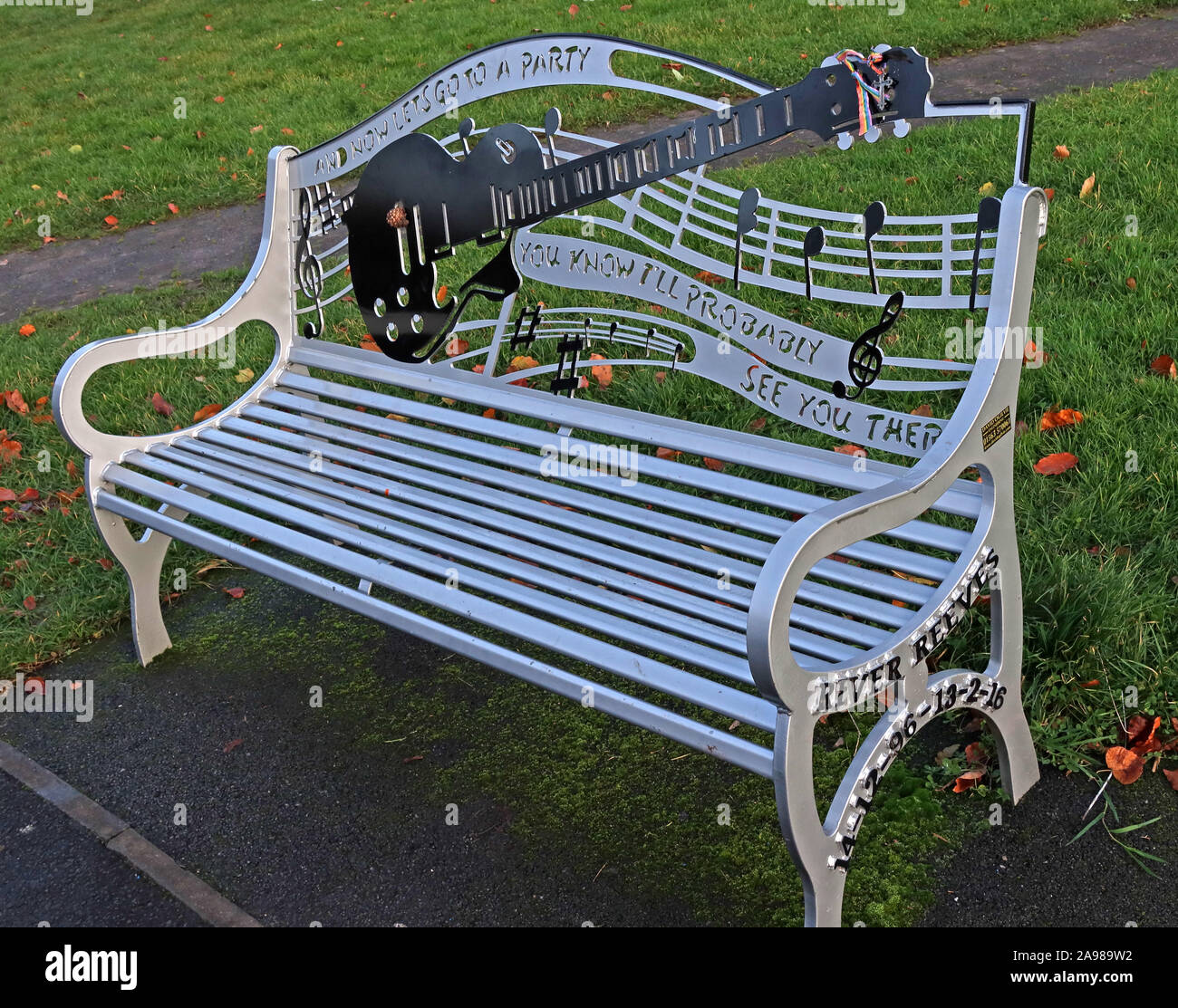 "Viola Beach Silver Bench,Grappenhall Heys, Warrington, Cheshire, North West England, UK - Memorial Seat, 13/02/2016 - ""And Now Lets Go To A Party"" Stock Photo"