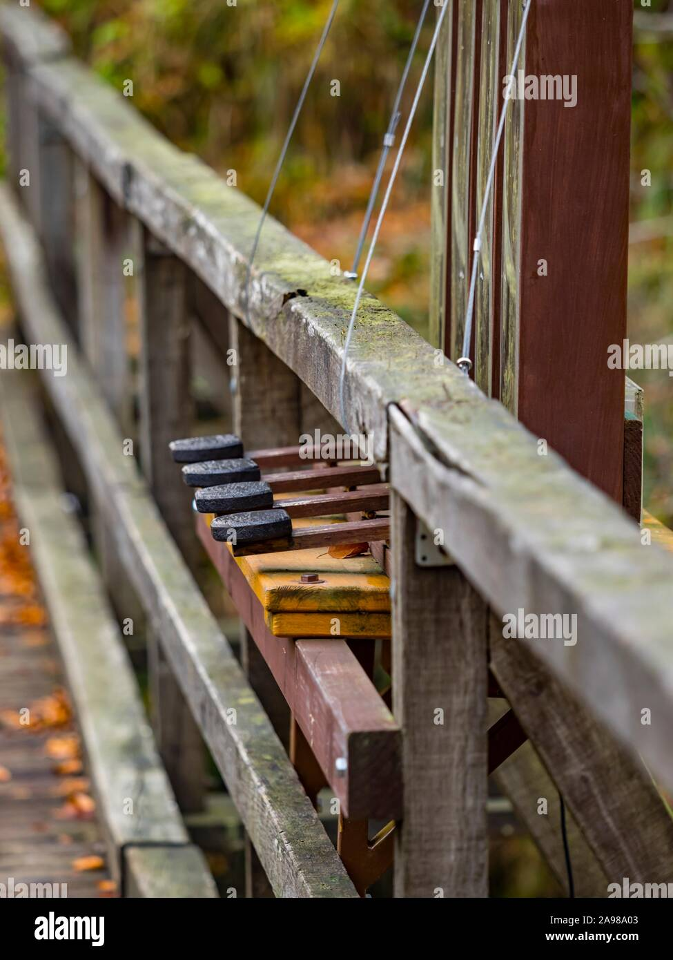 Autumn Fall season in Kamacnik near Vrbovsko in Croatia organ musical instrument mounted on bridge isolated detail keys details Stock Photo