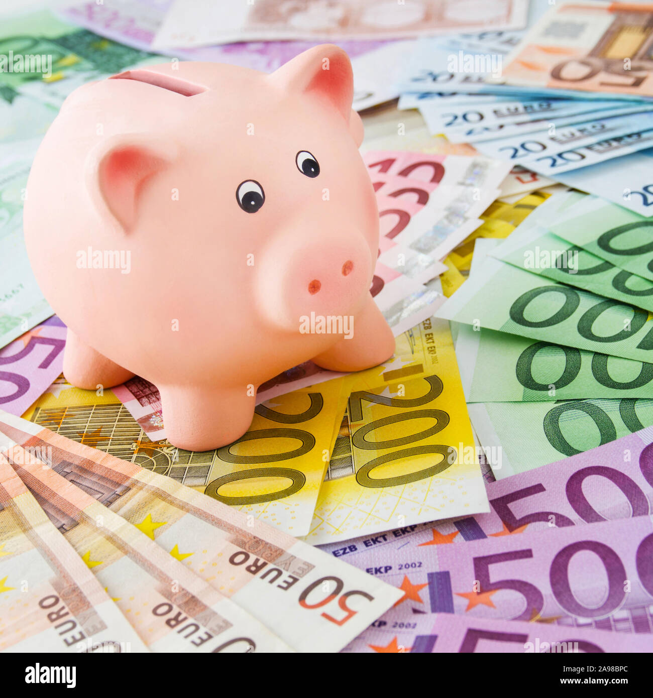 Euro and piggy bank Stock Photo