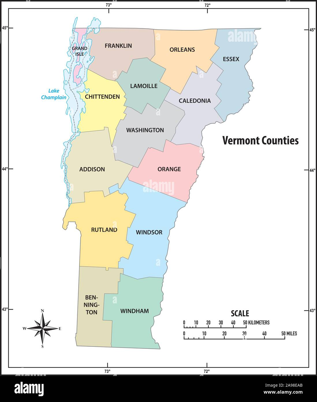 map of vermont state Vermont State Outline Administrative And Political Map In Color map of vermont state
