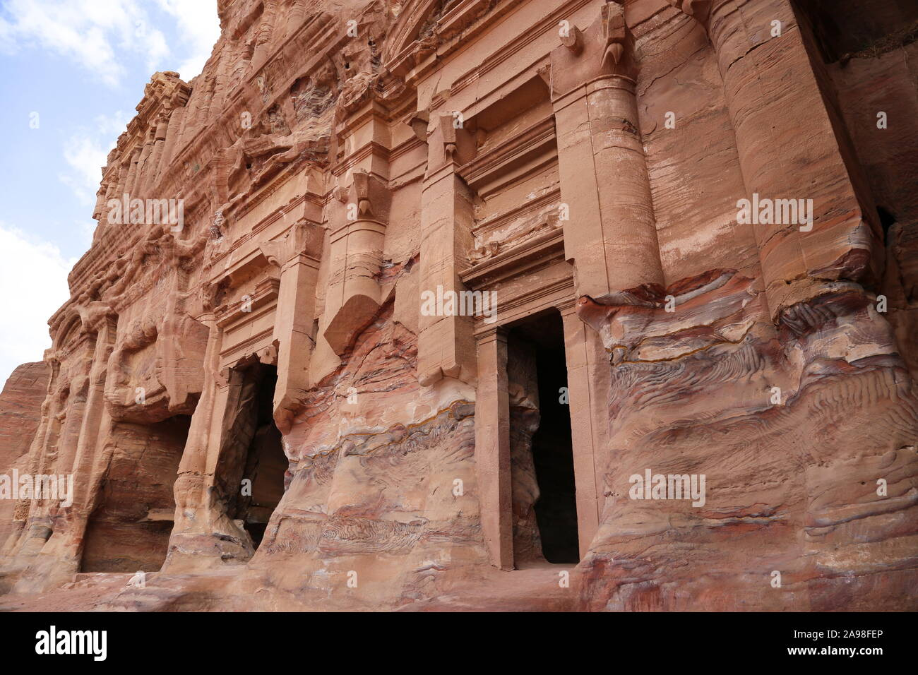 Palace Tomb (Qabr Al Qasr), Royal Tombs, Treasury Viewpoint Trail, Petra, Wadi Musa, Ma'an Governorate, Jordan, Middle East Stock Photo