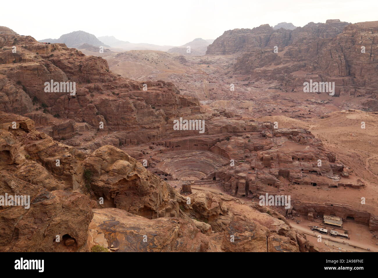 Theatre, seen from the Treasury Viewpoint Trail, Petra, Wadi Musa, Ma'an Governorate, Jordan, Middle East Stock Photo