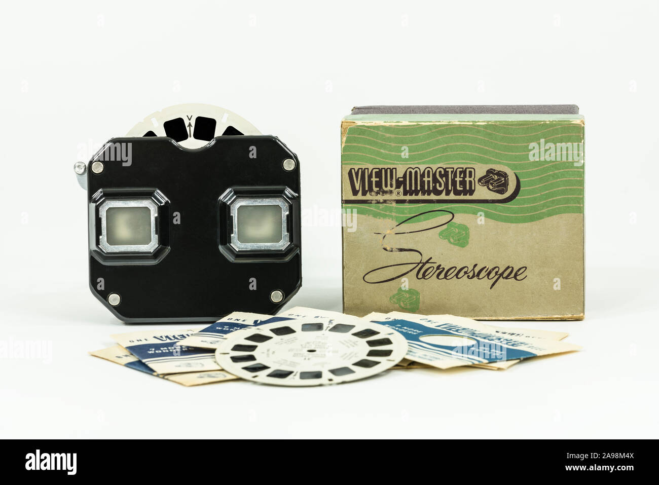 Los Angeles, California, USA - November 12, 2019:  Illustrative editorial photograph of vintage View Master toy, disks and box with white background. Stock Photo