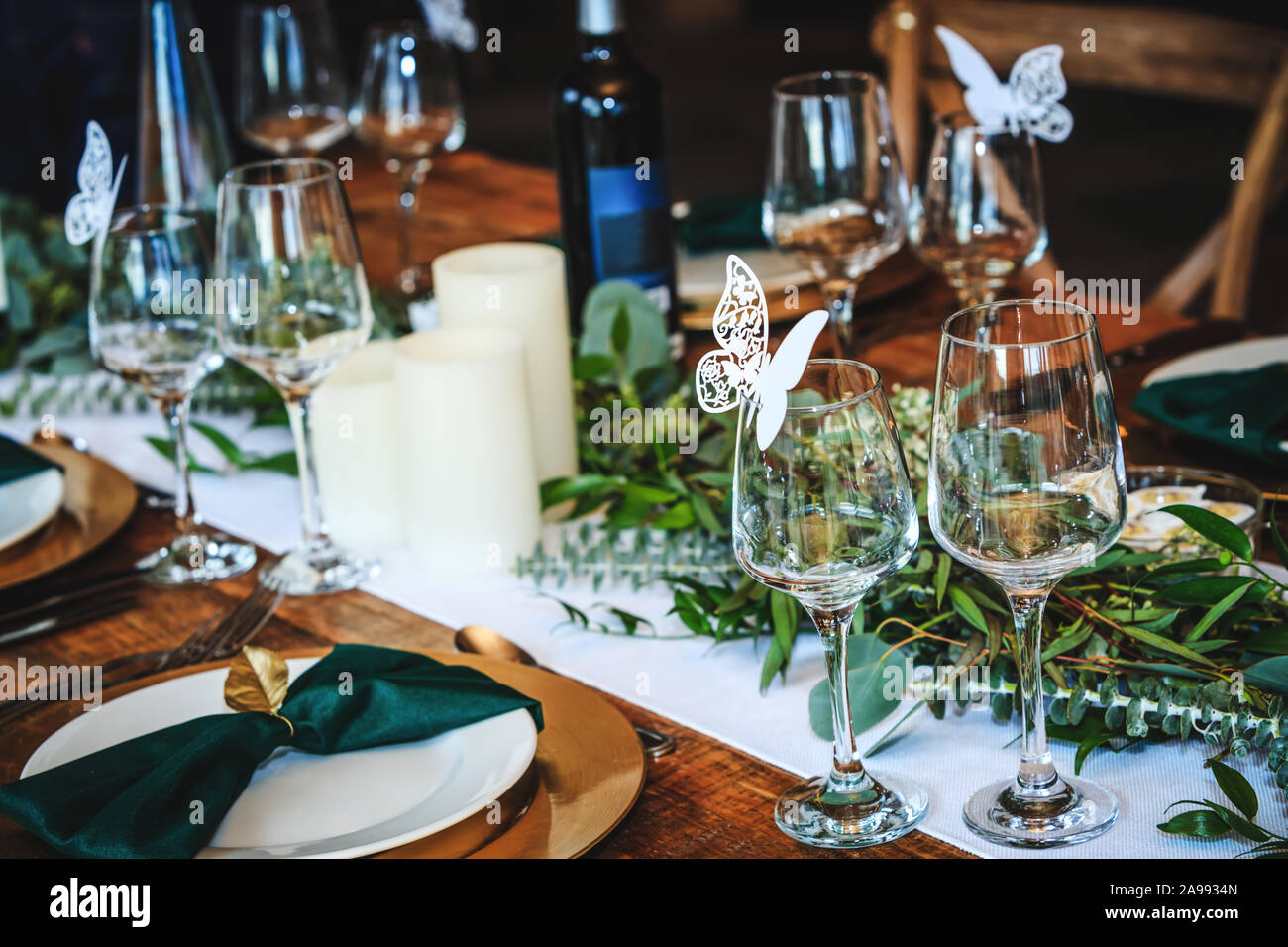 Rustic Wedding Table Setting In Fancy American Restaurant Vintage Decoration Of Reception Table Elegant Arrangement Of The Holiday Tableware Wine G Stock Photo Alamy