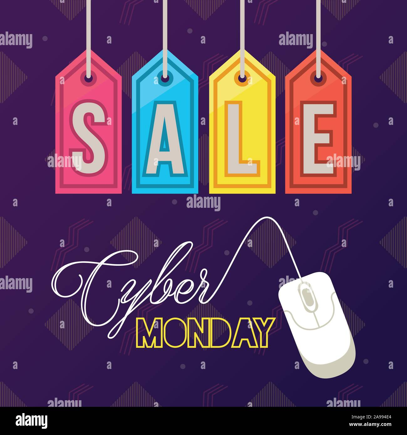 Cyber Monday Day Poster With Mouse And Tags Stock Vector Image Art Alamy