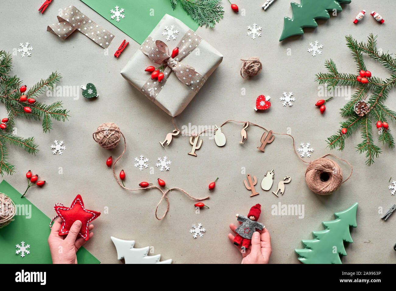Zero Waste Christmas Concept Flat Layout On Rustic Wood Hand Crafted Gifts Natural Christmas Decorations From Biodegradable Materials Plastic Free Stock Photo Alamy