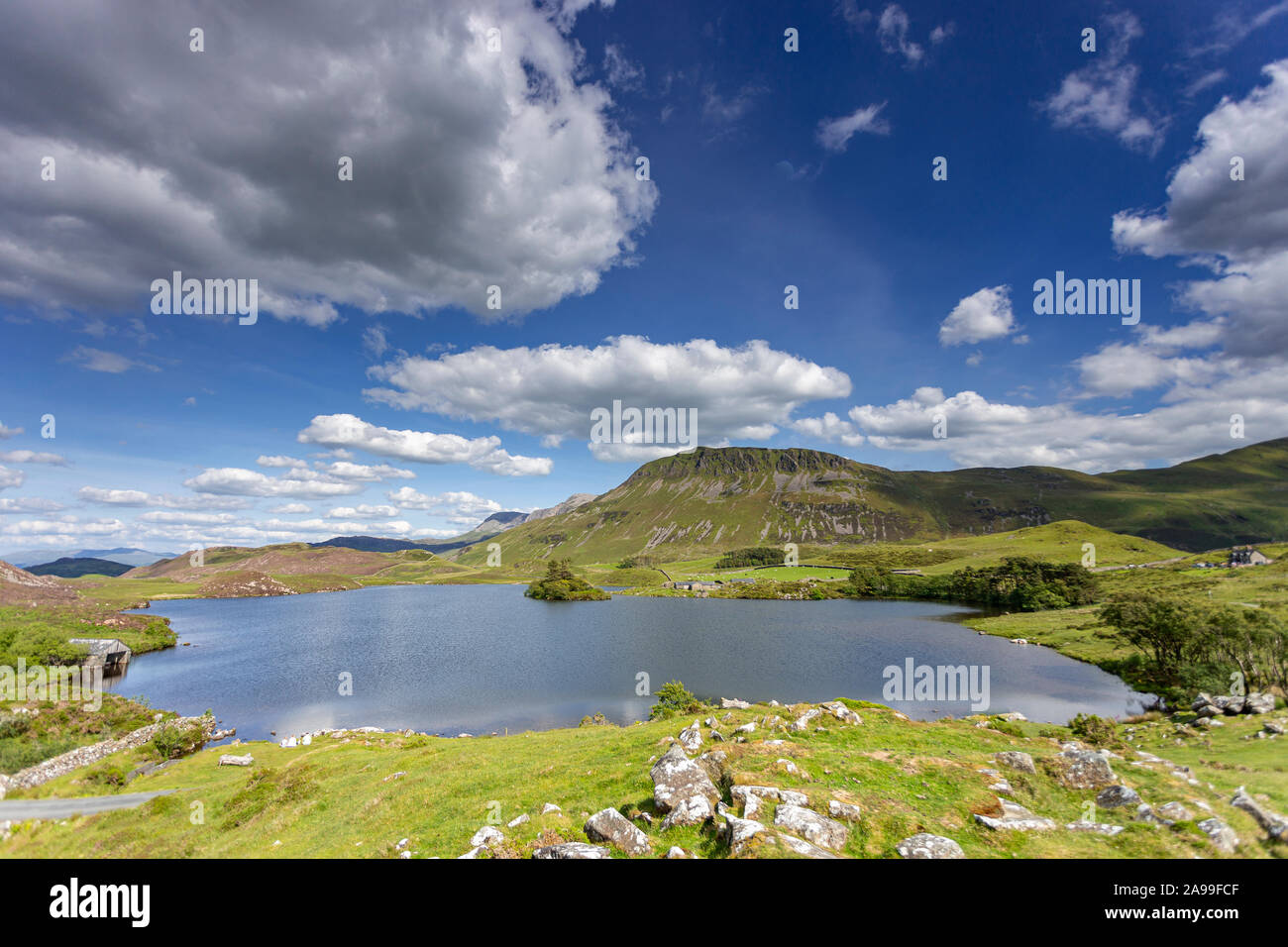 Cregennan Lakes on a sunny day in the Snowdonia National Park, Wales Stock Photo