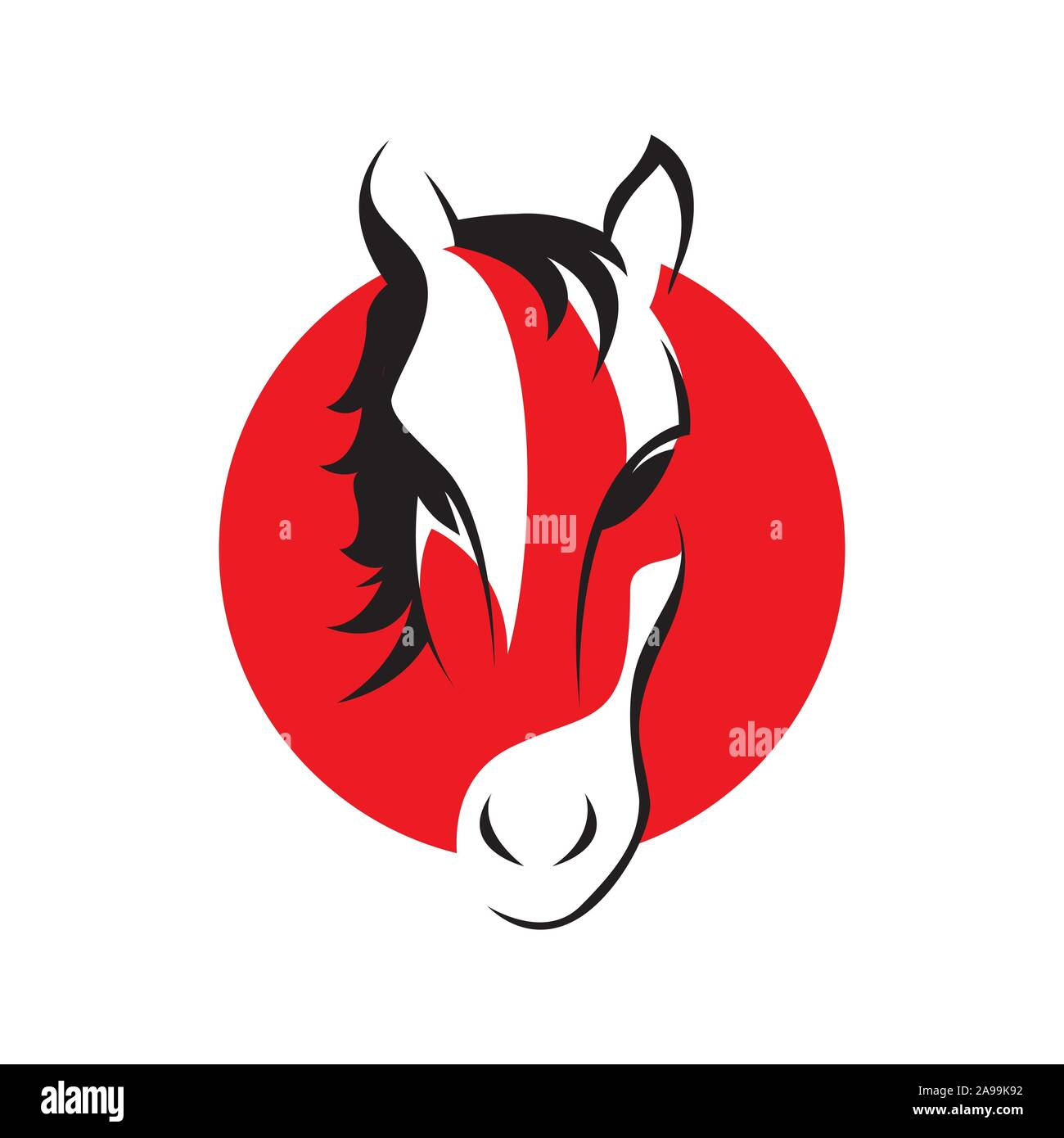 Emblem Of Red Horse Head Logo Template Vector Illustration Design Stock Vector Image Art Alamy