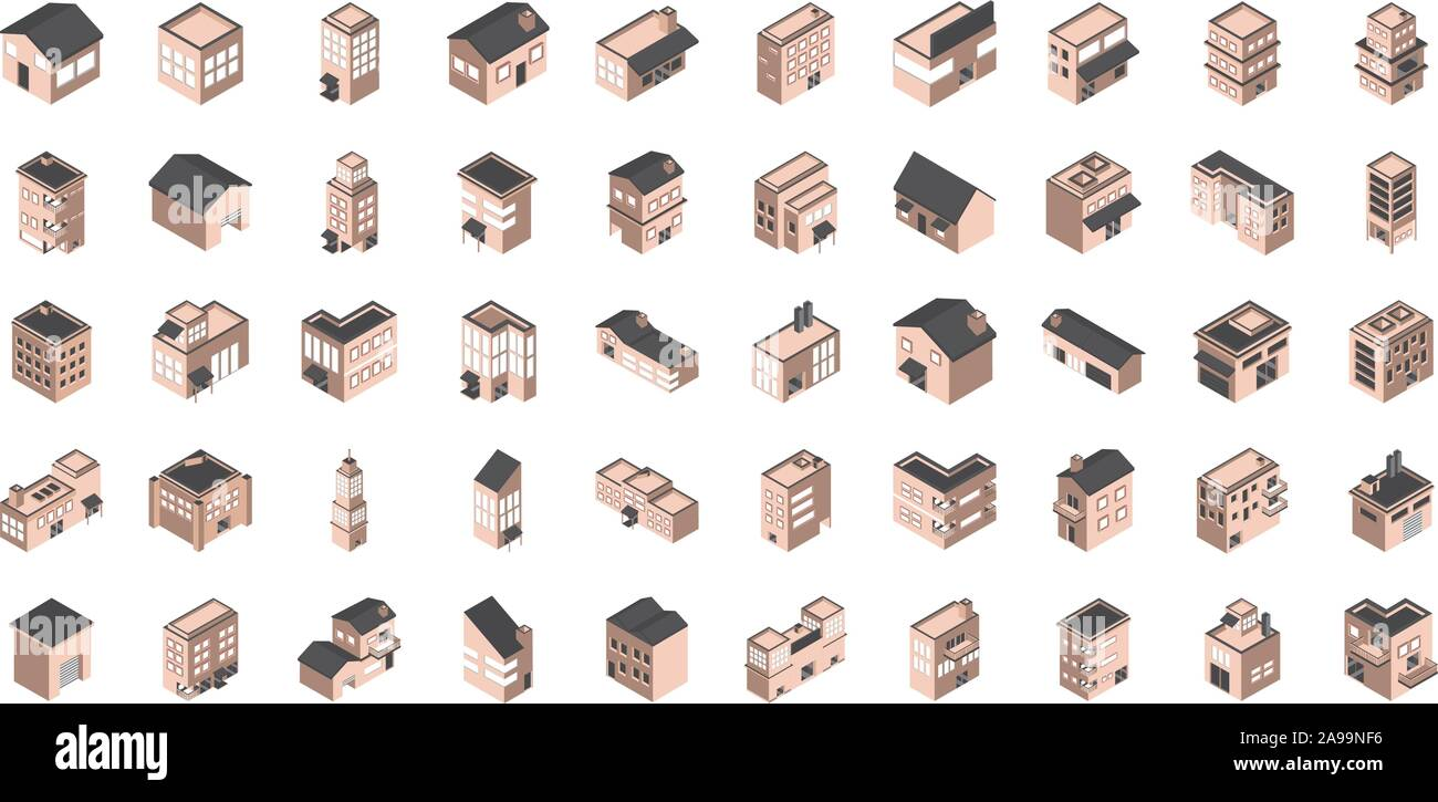 building isometric style icons set vector illustration Stock Vector