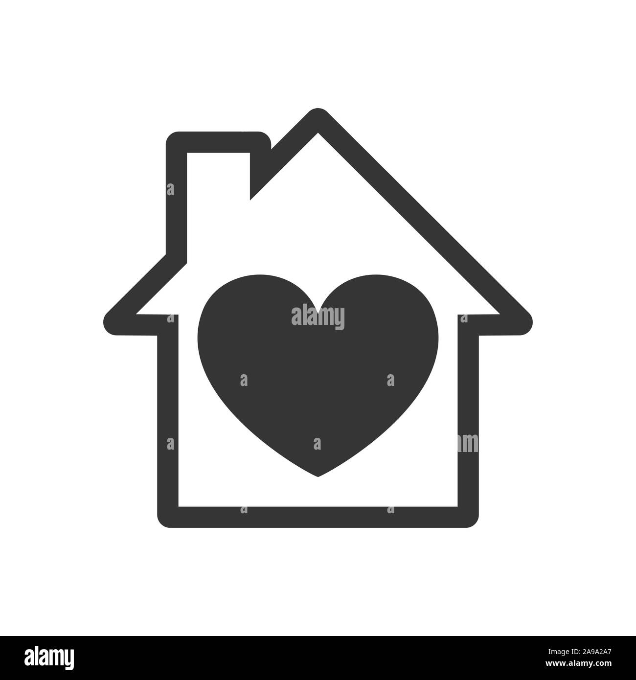 House Icon With Heart Vector House Icon Black Home Icon Construction Concept Stock Vector Image Art Alamy