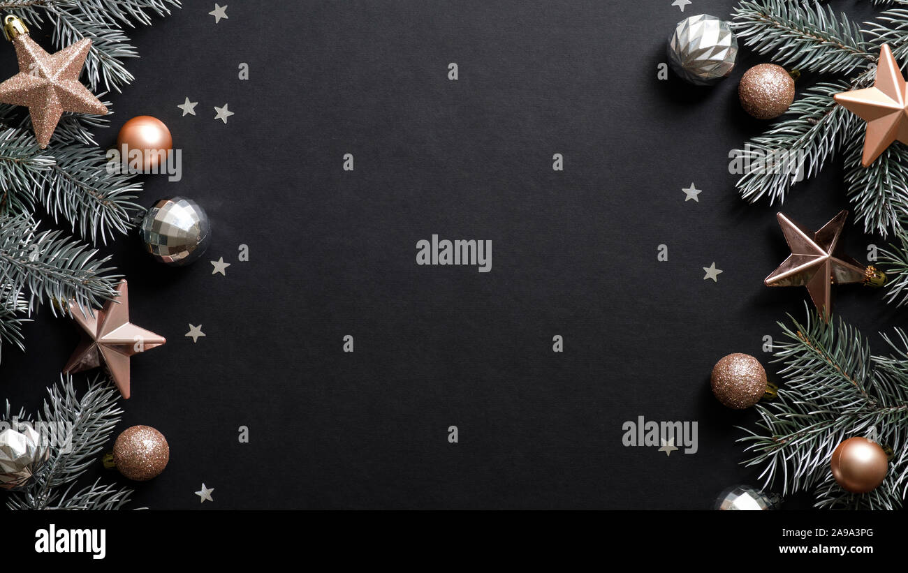 Christmas Frame Black Xmas Background With Pine Tree Branches Copper Color Stars Balls Confetti Christmas Frame Greeting Card Template Web Bann Stock Photo Alamy