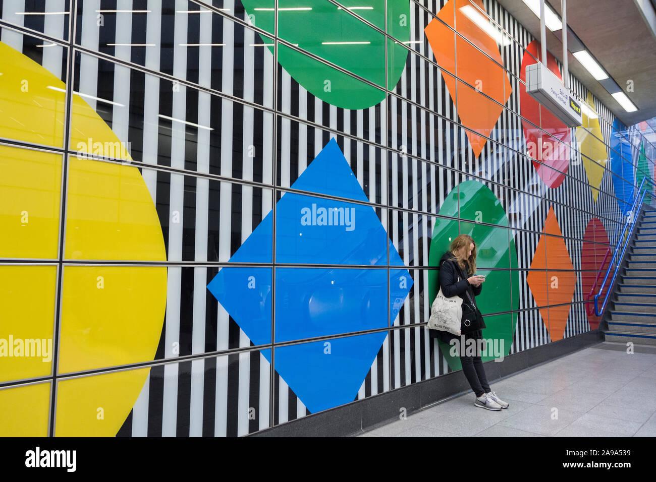 Daniel Buren S Wide Stripes And Geometric Patterns At Tottenham Court Road Underground Station London Uk Stock Photo Alamy