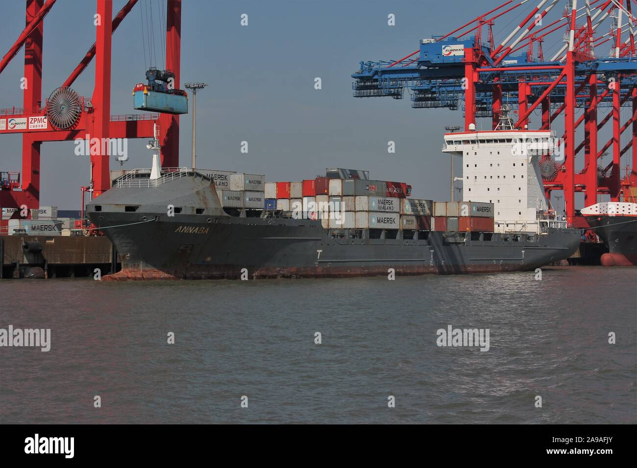 Containership ANNABA moored at Jade-Weser-Port Wilhelmshaven Stock Photo