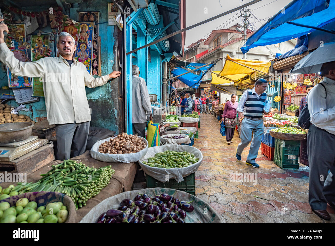 Sabzi mandi, or vegetable market, Shimla, Himachal Pradesh Stock Photo