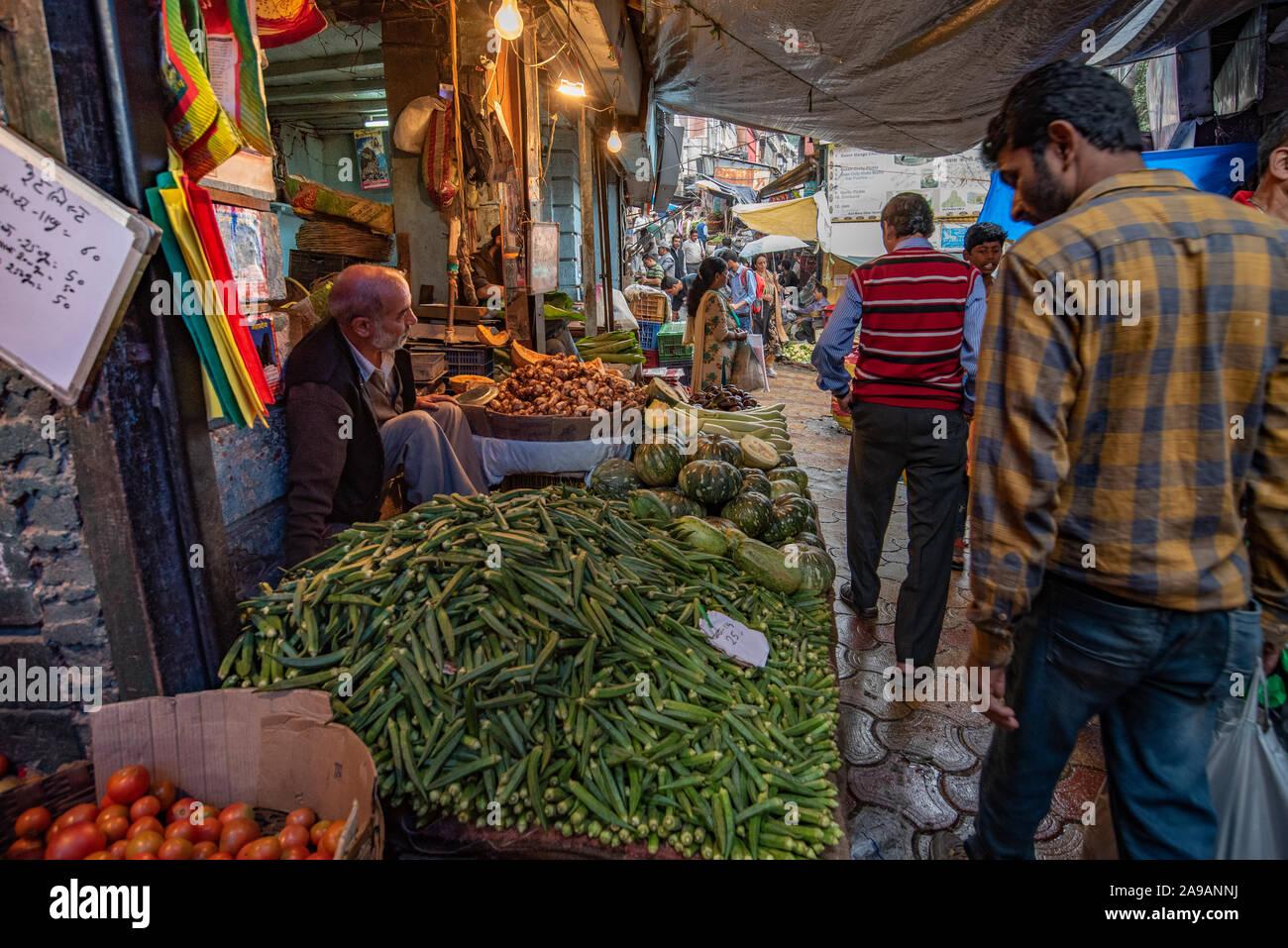 Sabzi mandi, or vegetable market, Shimla, Himachal Pradesh Stock Photo