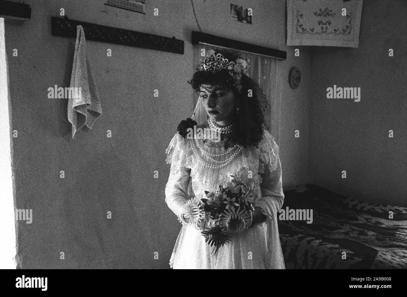 Bride before her wedding, Hoti, northern Albania. 1992. Stock Photo