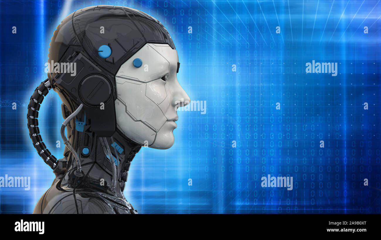 Technology Robot Sci Fi Woman Cyborg Android Background Humanoid Artificial Intelligence Wallpaper 3d Render Stock Photo Alamy